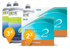 PureVision 2 for Astigmatism + EyeDefinition Sensitive Plus